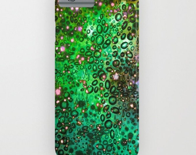 RAINBOW DOTTY OCEAN Green iPhone 6 7 8 X Xr Xs 11 Pro Max Case Samsung Galaxy Plastic Cover Neon Colorful Bubbles Ombre Abstract Painting
