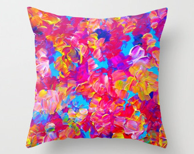 FLORAL FANTASY Bold Pink Flowers 16x16 18x18 20x20 Art Throw Pillow Cover, Decor Cushion Abstract Neon Magenta Turquoise Summer Painting