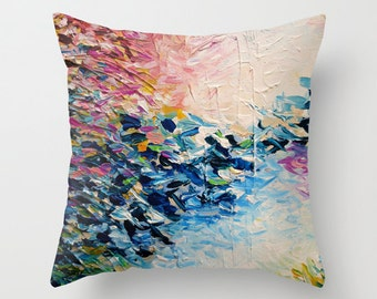 PARADISE DREAMING Decorative Pink Blue Pastel Decorative Painting Art Throw Pillow Cover 16x16 18x18 20x20 Square, Spring Colorful Abstract