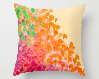 CREATION IN COLOR Autumn Infusion - Decorative Throw Pillow Cover 16x16 18x18 20x20 Red Orange Green Ocean Ombre Splash Dorm Decor Cushion
