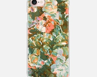 FLORAL FANTASY, BOHO Peach Green Flowers, iPhone 12 Pro Max X Xs 11 Case Samsung Galaxy S7 S8 S9 Plus Phone Cover Botanical Pattern Fine Art