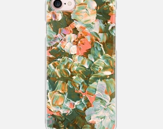 FLORAL FANTASY, BOHO Peach Green Flowers, 7 8 Plus X Xr Xs Max 11 Case Samsung Galaxy S7 S8 S9 Plus Phone Cover Botanical Pattern Fine Art