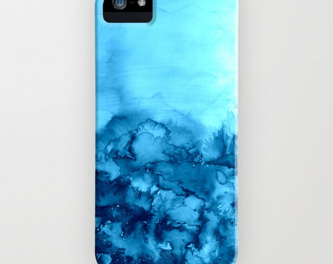 INTO ETERNITY TURQUOISE Art iPhone 11 Pro Max Case iPhone X Xr Xs Max Case Samsung Galaxy S10 S20 S21 Colorful Aqua Blue Abstract Watercolor