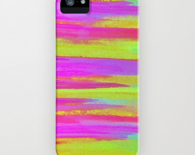 DISCO FEVER Neon Pink Green Stripes iPhone 12 Pro Max Case iPhone 11 X Xr Xs Samsung Galaxy Case Girly Abstract Art Plastic Cell Phone Cover