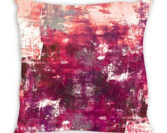 DIGRESSION FUCHSIA PINK Watercolor Suede Throw Pillow Cushion Cover 18x18 20x20 26x26 Colorful Abstract Art Peach Purple Magenta Girly Decor