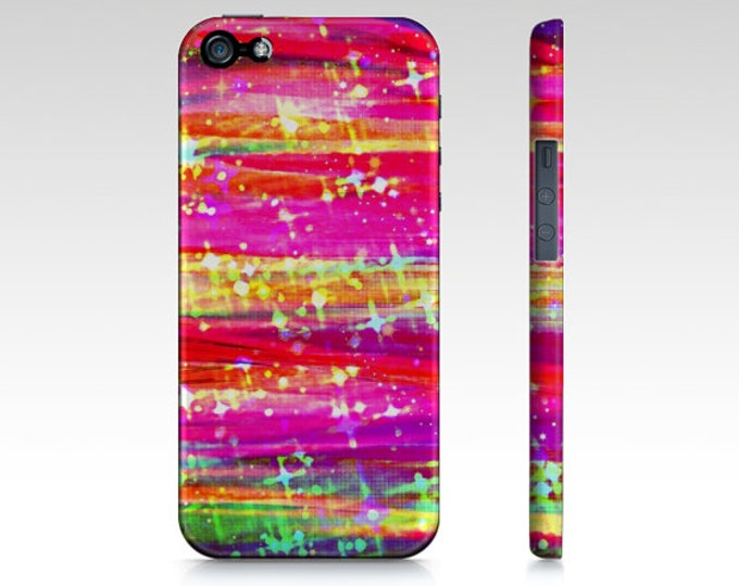 WATERFALLS Colorful Stripes iPhone 6 7 8 X Xr Xs Max 11 Case Samsung Galaxy Case Pretty Stars Girly Abstract Art Pink Purple Magenta Yellow