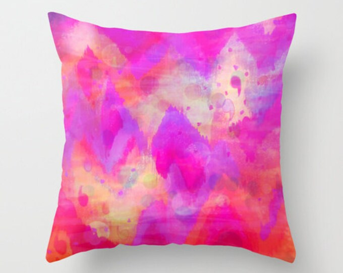 BOLD QUOTATION, Revisited - Decorative 16x16 18x18 20x20 Pillow, Throw Cushion Cover Intense Raspberry Pink Abstract Watercolor Ikat Pattern