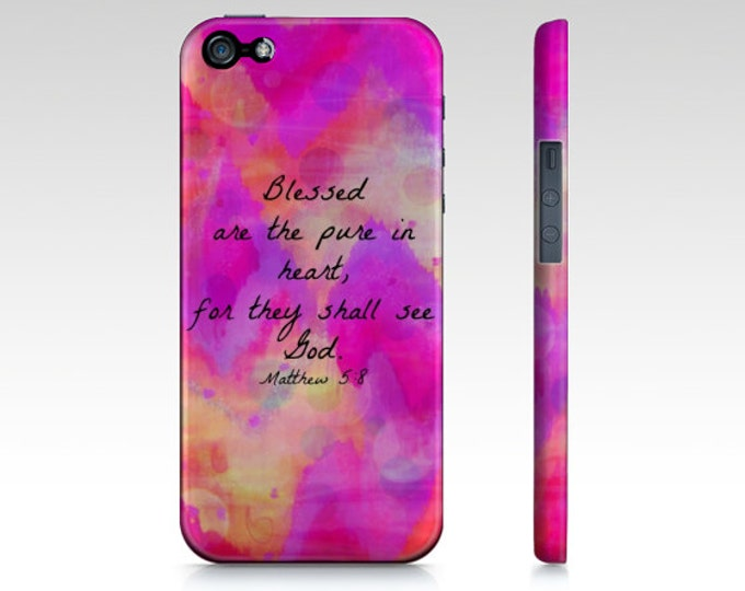 Pure in Heart iPhone 12 Pro Max X XR XS 11 Case Ombre Pink Purple Chevron Bible Verse Proverbs Art Christian God Abstract Scripture Biblical