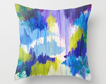 WINTER DREAMING - Original Throw Pillow Cover 16x16 18x18 20x20 Plum Purple Green Dreamy Color Abstract Painting Modern Stylish Home Decor