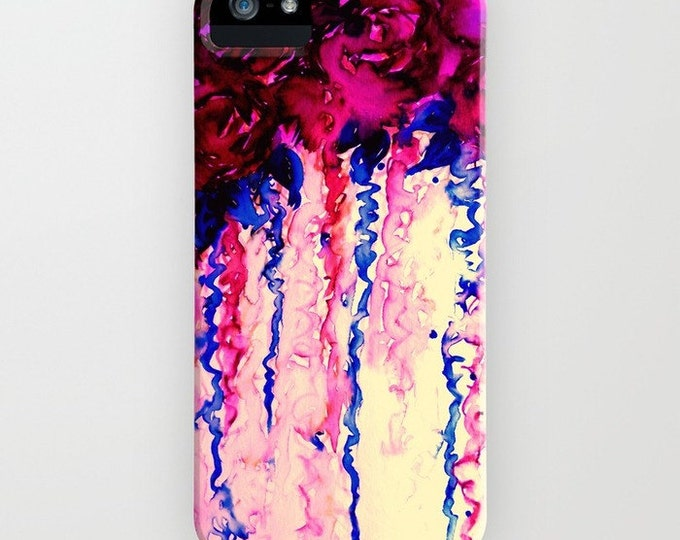 PETALS ON PARADE iPhone 11 Pro Max Case Oxblood Red Blue Floral iPhone 8 X Xr Xs Samsung Galaxy Cell Cover Girly Roses Abstract Art Flowers