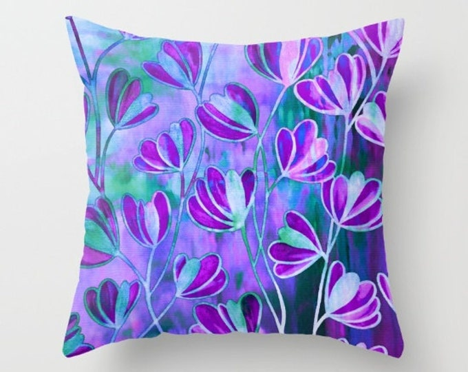 EFFLORESCENCE LAVENDER BLUE Purple Floral Pattern Throw Pillow Cover 16x16 18x18 20x20 Square Watercolor Painting Colorful Nature Flower Art