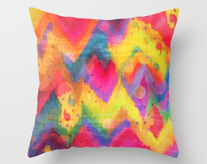 BOLD QUOTATION in Neons 2 - 16x16 18x18 20x20  Decorative Pillow Cover, Polyester Throw Cushion Decor Rainbow Abstract Watercolor Painting