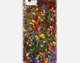 AMONGST THE FLOWERS Rainbow Floral Abstract iPhone 5 6 7 8 Plus X Xr Xs Max 11 Case Samsung Galaxy Hard Phone Autumn Olive Green Painting