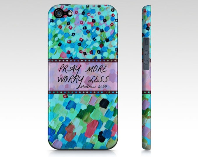 PRAY MORE Worry Less iPhone 7 8 X Xr Xs 11 Pro Max Samsung Case God Christ Aqua Turquoise Abstract Scripture Faith Ocean Waves Bible Verse