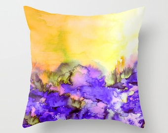 INTO ETERNITY Yellow Purple Watercolor Painting Art Throw Pillow Cover 16x16 18x18 20x20 Square, Spring Colorful Nature Floral Abstract