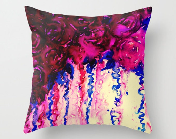 PETALS ON PARADE Oxblood Marsala Red Blue Roses Flowers 16x16 18x18 20x20 Watercolor Art Throw Pillow Cover Decor Cushion Abstract Painting