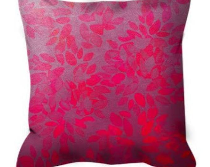 FLORAL WASH, Neon PINK Magenta Ombre Abstract Pattern Art Suede Throw Pillow Cover Hot Pink Gray Flower Petals Girly Feminine Colorful Decor