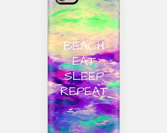 BEACH EAT SLEEP Repeat, Purple Coastal iPhone 12 Pro Max Case iPhone 11 X Xr Xs Samsung Galaxy Summer Typography Boho Ocean Waves Mermaid
