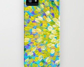 SPLASH 2 Colorful Ocean Splash iPhone 12 Pro Max Case iPhone 11 X Xs Samsung Galaxy Turquoise Lemon Yellow Cream Abstract Acrylic Painting