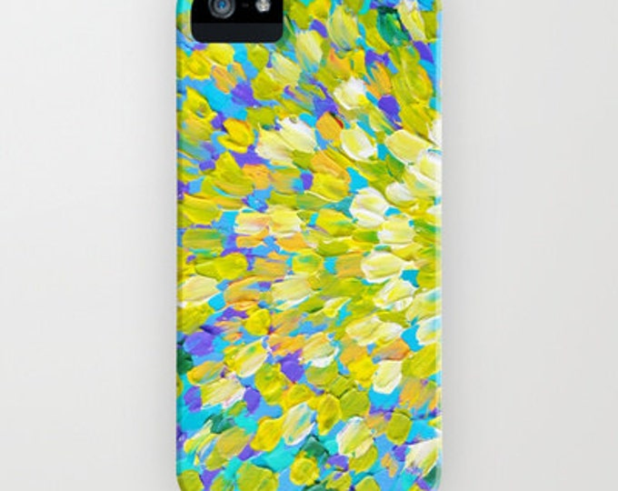 SPLASH 2 Colorful Ocean Splash iPhone 11 Pro Max Case iPhone 8 X Xr Xs Samsung Galaxy Turquoise Lemon Yellow Cream Abstract Acrylic Painting