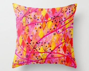 INTO THE FALL Decorative Throw Pillow Cover 16x16 18x18 20x20 Autumn Neon Red Pink Yellow Floral Swirls Decor Watercolor Dorm RoomCushion