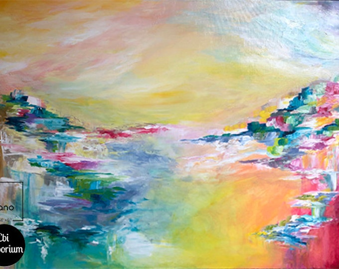 SOMETHING About THE SEA, Colorful Original Abstract Acrylic Painting Large Canvas Rainbow Bold Whimsical Multicolor Seascape Ocean Landscape