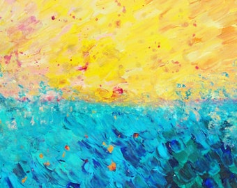 THE DIVIDE Fine Art Digital Print Ocean Beach Splash Waves Colorful Yellow Blue Summer Sea Brushstrokes Abstract Acrylic Painting Home Decor