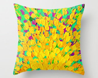 SPRING SPLASH Bright Cheerful Home Decor 16x16 18x18 20x20 Decorative Throw Pillow Cushion Cover Lemon Lime Neon Yellow Green Ocean Abstract