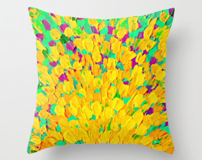 SPRING SPLASH Bright Cheerful Home Decor 16x16 18x18 20x20 Decorative Throw Pillow Cushion Cover Lemon Lime Neon Yellow Green Ocean Abstract