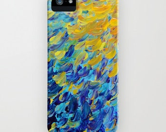 AQUATIC MELODY Ocean Waves Ombre iPhone 12 Pro Max Case iPhone 11 Pro 8 X Xr Xs Max Samsung Galaxy Beach Colorful Blue Peacock Feathers Art