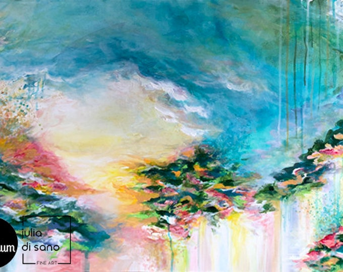 LOOK on the BRIGHT SIDE Pink Blue Yellow Green Pastel Spring Fine Art Clouds Colorful Original Abstract Acrylic Painting Girly Chic Modern