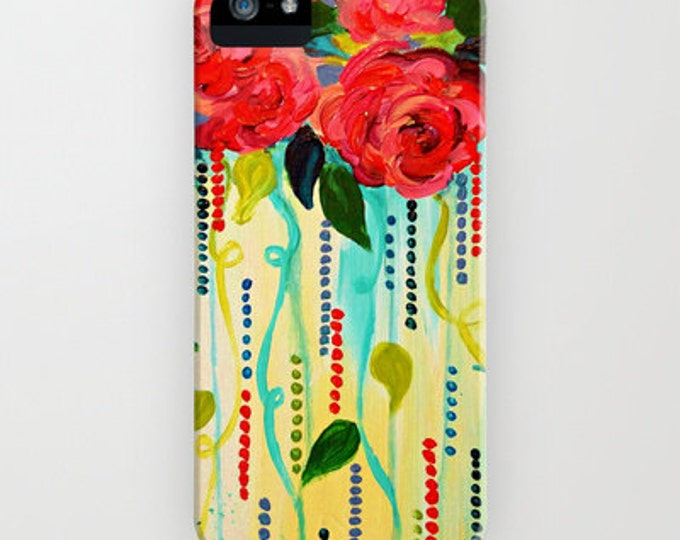 ROSE RAGE Colorful Flowers Red Turquoise Floral Abstract iPhone 11 Pro Max Case iPhone X 11 12 Samsung Galaxy S10 S20 S21 Samsung Note Cover