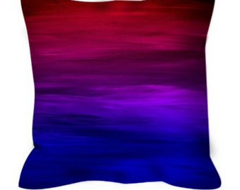 ETERNAL SUNSET Blue Red Purple Ombre Stripes Abstract Art Suede Throw Pillow Cover Colorful Magenta Indigo Crimson Girly Home Decor Cushion