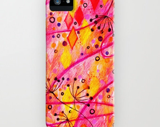 INTO THE FALL Floral iPhone 12 Pro Max X Xr Xs 11 Case Samsung Galaxy Case Abstract Autumn Watercolor Painting Cell Phone Hard Plastic Case