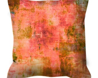 GENTLE MEADOWS Greenery Coral Peach Abstract Botanical Elegant Fine Art Suede Throw Pillow Cover Colorful Nature Olive Pantone Decor Cushion