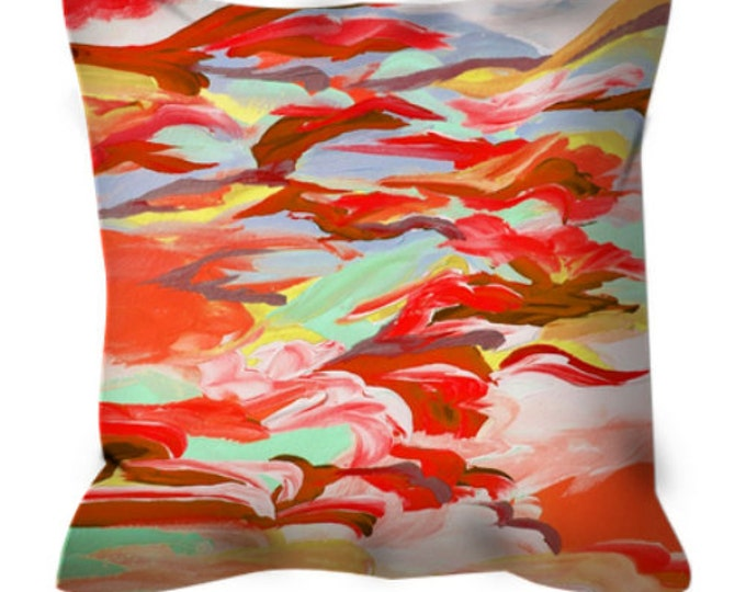 STILL UP in the AIR 4 Art Suede Throw Pillow Cushion Cover 16x16 18x18 20x20 26x26 Abstract Autumn Rust Red Orange Mint Fall Decor Painting