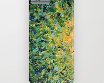 IRISH SUNRISE Green Yellow Ombre iPhone 11 Pro Max Case iPhone 7 8 X Xr Xs Samsung Galaxy Hard Cover Neon Colorful Waves Abstract Painting