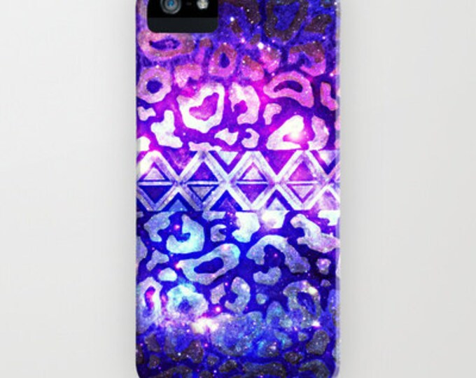 TRIBAL LEOPARD Galaxy iPhone 5 6 7 8 X Xr Xs 11 Max Case Samsung Galaxy Feminine Ombre Space Nebula Stars Galactic Native Aztec Animal Print