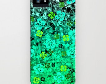 LUCK of THE IRISH iPhone 12 Pro Max Case iPhone 11 8 X Xr Xs Samsung Galaxy St Patricks Day Emerald Lime Green Ombre Abstract Flowers Floral