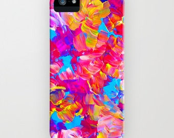 FLORAL FANTASY iPhone 12 Pro Max iPhone X Xr Xs 11 Samsung Galaxy Neon Hot Pink Abstract Floral Summer Flower Pattern Gift Her Cell Cover