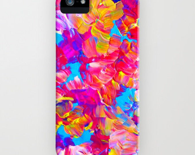 FLORAL FANTASY iPhone 11 Pro Max iPhone 8 X Xr Xs Max Samsung Galaxy Neon Hot Pink Abstract Floral Summer Flower Pattern Gift Her Cell Cover