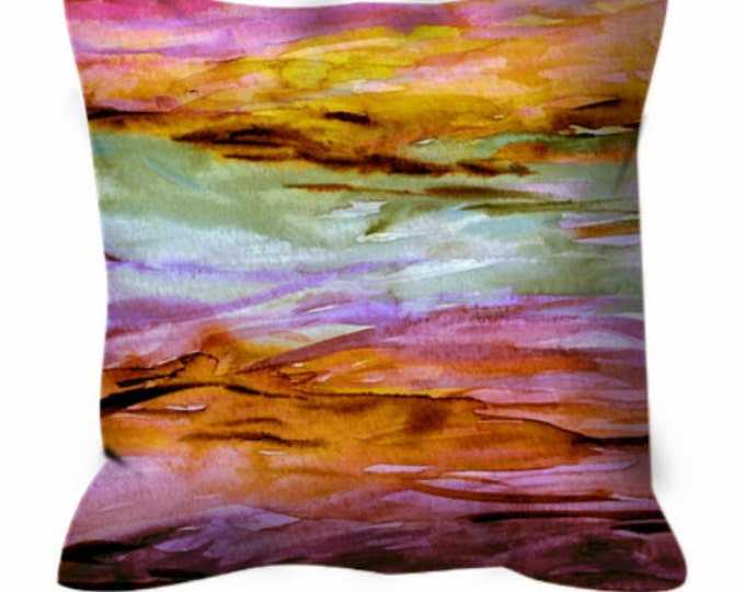 UNANCHORED 2 Rose Quartz Pink Yellow Watercolor Art Suede Throw Pillow Cushion Cover 18x18 20x20 26x26 Ocean Ombre Orange Lilac Beach Decor