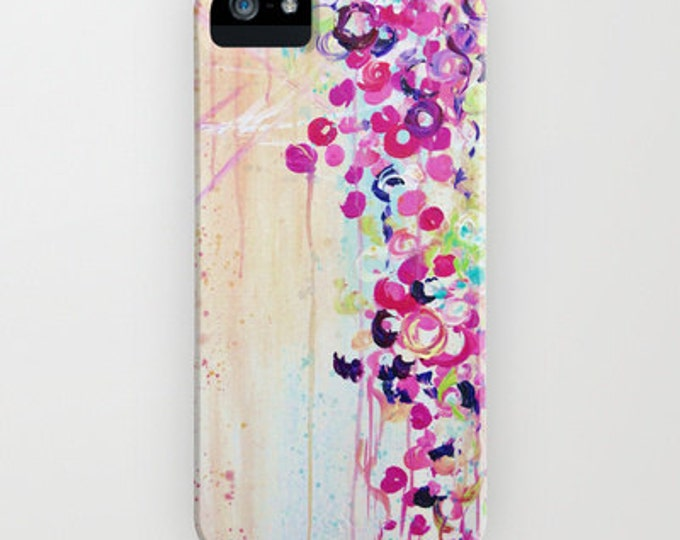DANCE of the SAKURA Girly Floral iPhone 7 8 X Xr Xs Max 11 Pro Max Case Samsung Galaxy Hard Phone Pink Cherry Blossoms Abstract Painting