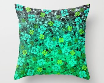 LUCK of THE IRISH 16x16 18x18 20x20 Decorative Throw Pillow Cover Green Shamrock Floral Colorful Ombre Art Decor Festive St. Patricks Day