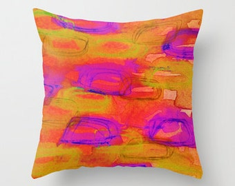 NOT YET, NIGHT Orange Decorative Art Throw Pillow Cover 16x16 18x18 20x20 Bold Colorful Abstract Watercolor Painting Warm Dusk Tones