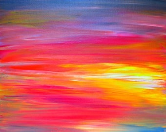 BRIGHT HORIZONS Bold Colorful FIne Art Print Rainbow Pink Yellow Blue Sunrise Sunset Stripes Abstract Painting Digital Print Decor Wall Art