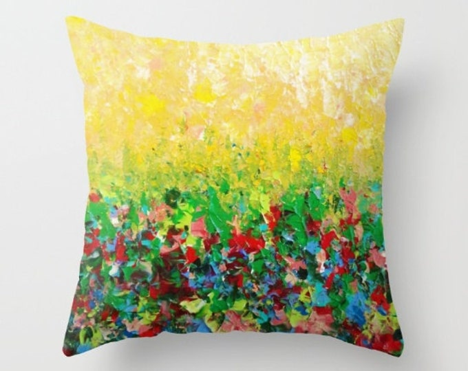 NATURE'S LIVING ROOM Happy Decor 16x16 18x18 20x20 Decorative Throw Pillow Cushion Cover Lemon Yellow Green Rainbow Floral Summer Abstract