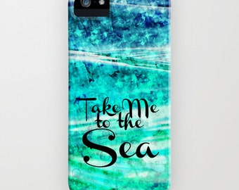 TAKE Me to the SEA, iPhone 12 Pro Max 8 X Xr Xs 11 Case Samsung Galaxy Cover Typography Stylish Ocean Waves Blue Abstract Acrylic Painting
