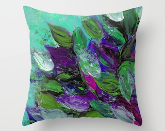 BLOOMING BEAUTIFUL1 Abstract Mint Green Purple Floral Decorative Art Pillow Cover 16x16 18x18 20x20 Spring Summer Art Throw Cushion Flowers