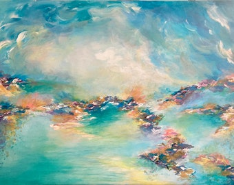 SEA TO SKY, Colorful Original Pastel Aqua Turquoise Blue Pink Gold Leaf Clouds Ocean Girly Chic Abstract Acrylic Painting Fine Art Canvas